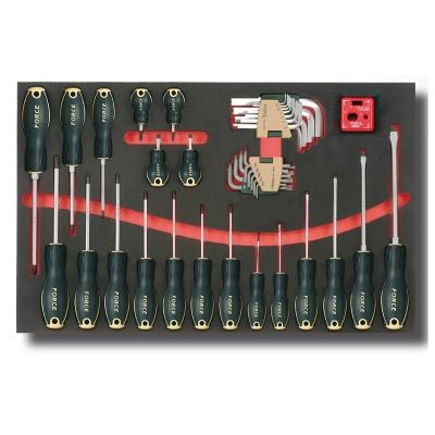 2412 Набор плоских, крестовых PH и Torx отверток и Г-образных ключей в мягком ложементе 41 предмет