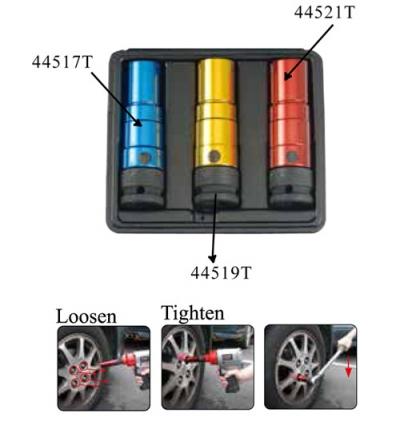 """1/2"""" Набор тонкостенных колёсных головок 17, 19, 21, 22 мм 4 пр."""
