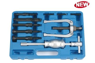Набор: упорный съемник внутренних подшипников с обр. молотком и цанговыми насадками под D=8мм-32мм, 10пр.