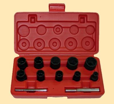 """3/8""""&1/2"""" Набор ударных головок-экстракторов для повреждённых или закисших гаек 12пр.."""