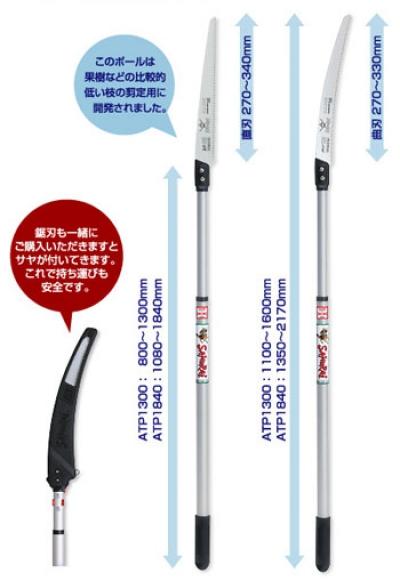 Телескопическая ручка L= 800-1300мм с изгнутой пилой GC331 L=330мм 2пр.