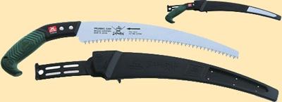 Пила усиленная с изогнутым полотном L=300мм/4мм/1,2мм с пластмассовой ручкой, в чехле, с поясным креплением.