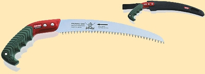 Пила с изогнутым полотном L=330мм шаг 4мм в чехле, с поясным креплением.
