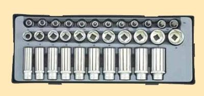 """3/8"""" Набор 6гранных длинных и коротких головок, головок-бит торкс  33пр.В ложементе"""