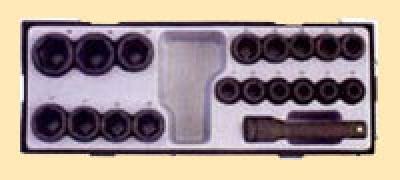"""1/2"""" Набор 6 гр., коротких ударных головок 10-32 мм, 19 пр. (шт.) в ложементе"""