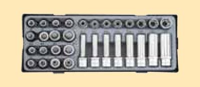 """1/2"""" Набор длинных и коротких головок Е-стандарт, головок-бит торкс и сплайн 38пр.В ложементе"""