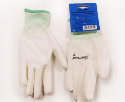 UN-P001-9 Перчатки универсальные (белые), с полиуретановым покрытием. р-9