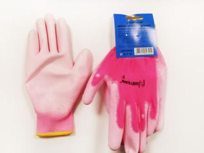 UN-P004-8 Перчатки универсальные (розовые), с полиуретановым покрытием. р-8